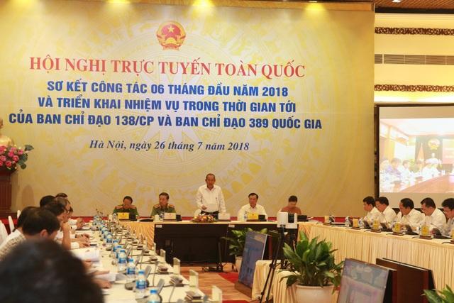 Phó Thủ tướng Trương Hoà Bình chủ trì hội nghị sơ kết công tác nửa đầu năm 2018 của Ban Chỉ đạo 138 của Chính phủ, Ban Chỉ đạo 389 quốc gia.
