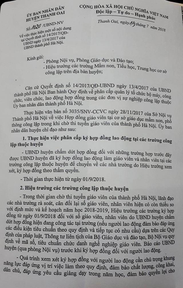 Văn bản số 1020/UBND-NV của UBND huyện Thanh Oai có nhiều nội dung, trong đó có việc chấm dứt kí hợp đồng cho một số giáo viên. (Ảnh: Đ. T).