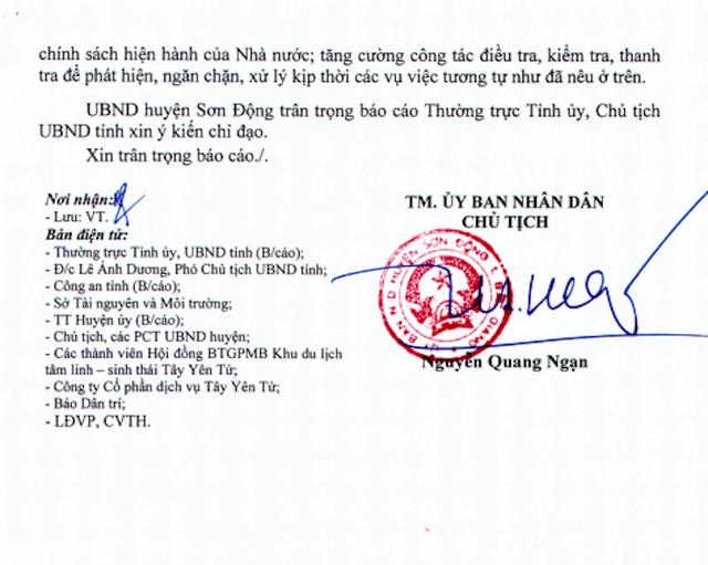 UBND huyện Sơn Động hồi âm đến Báo Dân trí.