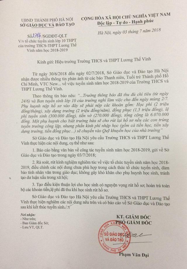 Công văn của Sở GD&ĐT Hà Nội gửi Trường THCS & THPT Lương Thế Vinh ngày 3/7.