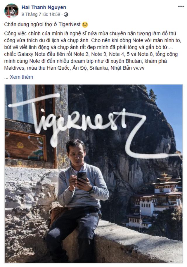 Nhiếp ảnh gia Nguyễn Thanh Hải dùng tình năng Live Message cùng S Pen 'Note' lại trải nghiệm tại đền TigerNest - Bhutan.