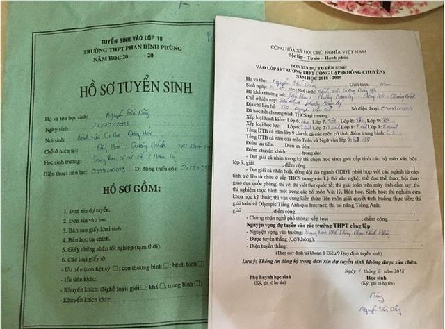 Dũng và các thí sinh vào lớp 10 tại Quảng Bình chỉ được nộp duy nhất một bộ hồ sơ. Nếu không đậu mới được rút lại để ứng tuyển trường khác
