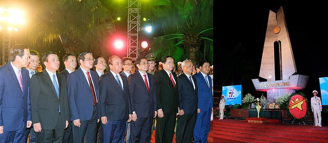 Lãnh đạo Đảng, Nhà nước dâng hoa kính viếng các Anh hùng liệt sĩ tại nghĩa trang Liệt sĩ Sơn Tây. Ảnh: VGP