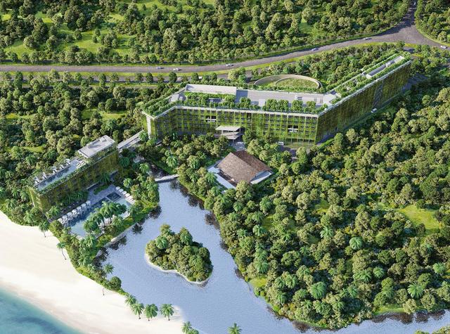 Sheraton Phú Quốc - Hạng mục nghỉ dưỡng/ Dự án trong tương lai. Diện tích khu vực: 28.662 m2 GFA: 35.000 m2 Tọa lạc trên hòn đảo Phú Quốc xinh đẹp - nơi được mệnh danh là thiên đường ngắm hoàng hôn biển. Bằng cách tiếp cận bền vững, dự án này được thiết kế nhằm tôn trọng và phát triển những đặc tính vốn có của khu đất và xây dựng công trình xanh trên Trái đất. Không gian chính là khách sạn 6 tầng với 263 phòng, một nhà hàng chính bằng tre và một hội trường. Tận dụng lợi thế của nguồn tài nguyên thiên nhiên, khu vực trung tâm của khách sạn có tầm nhìn toàn cảnh khu vực biển đại dương gần đó.