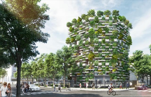 """Trụ sở chính VTN Architects - Hạng mục văn phòng/ Dự án trong tương lai. Diện tích khu vực: 300m2 GFA: 1.386m2. Quá trình đô thị hóa nhanh chóng, các thành phố ở Việt Nam dần tách xa các khu rừng nhiệt đới. Việc thiếu cây xanh là nguyên nhân dẫn tới tới vấn đề xã hội như ô nhiễm nguồn không khí do có quá nhiều xe máy, lũ lụt hay ảnh hưởng của biến đổi khí hậu. """"Urban Farming office"""" được thiết kế không những trả lại không gian xanh cho thành phố bằng việc phủ xanh mặt đứng của tòa nhà văn phòng bằng cây tạo ra nguồn khí hậu thoải mái, thư giãn mà còn là nơi cung cấp, sản xuất nguồn lương thực sạch, đảm bảo an toàn."""