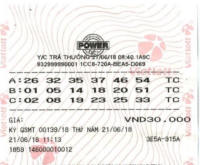 Tấm vé may mắn của anh T. trúng độc đắc hơn 44 tỷ đồng