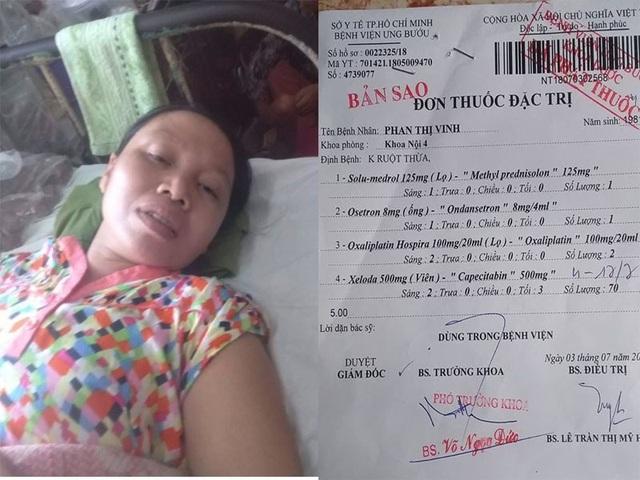 Chị Vinh đang phải điều trị bệnh ung thư ruột thừa di căn tại Bệnh viện Ung Bướu thành phố Hồ Chí Minh.