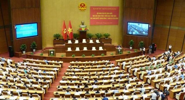 Quang cảnh Hội nghị học tập, quán triệt Nghị quyết Trung 7 khóa XII của Đảngtại điểm cầu Hà Nội, ngày 29/6.