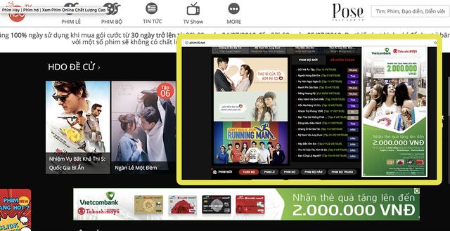 Quảng cáo trên hai kênh phim lậu lớn ở Việt Nam