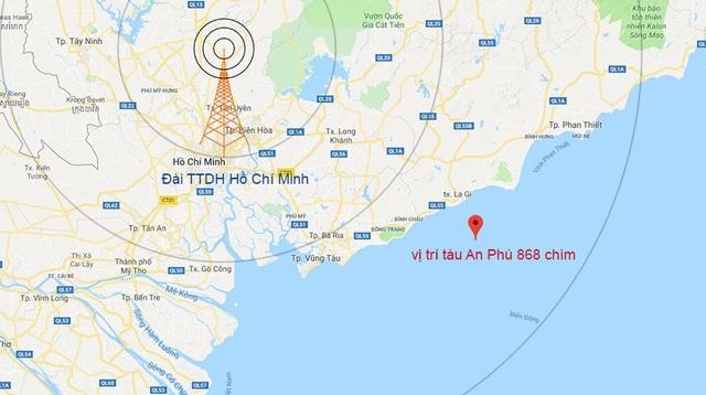 Vị trí tàu An Phú 868 bị nạn