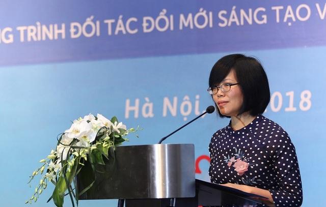 Vụ trưởng, Trợ lý Bộ trưởng Bộ KH&CN, Giám đốc Chương trình IPP2 Trần Thị Thu Hương phát biểu tại Hội nghị tổng kết.