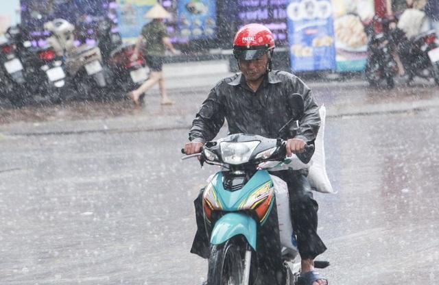 Người tham gia giao thông không mặc áo mưa để cảm nhận sự thú vị của mưa rào mùa hạ.