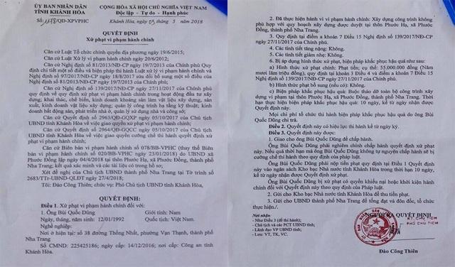 Quyết định xử phạt hành chính của UBND tỉnh Khánh Hoà đối với công trình vi phạm trên.