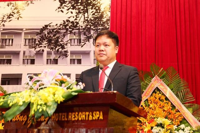 TS. Đàm Quang Minh - tân Hiệu trưởng trường Đại học Phú Xuân phát biểu tại buổi lễ.