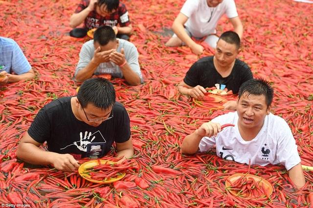 Một số người vừa ăn ớt, vừa lau mồ hôi và nước mắt vì cay và nóng