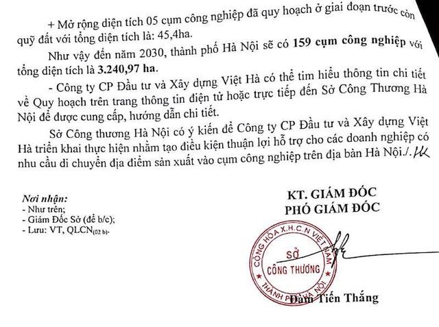 """Sở Công Thương TP Hà Nội nêu rõ: """"Công ty cổ phần Đầu tư và xây dựng Việt Hà có thể tìm hiểu thông tin chi tiết về Quy hoạch trên trang thông tin điện tử hoặc trực tiếp đến Sở Công Thương Hà Nội để được cung cấp, hướng dẫn chi tiết."""""""
