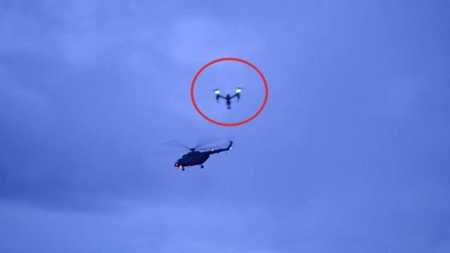 Thiết bị không người lái của truyền thông gây ảnh hưởng đến hoạt động của trực thăng cứu hộ. (Ảnh: Nation)