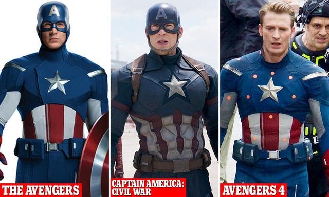 Bộ trang phục của Captain America qua các phần phim có sự thay đổi nhẹ.