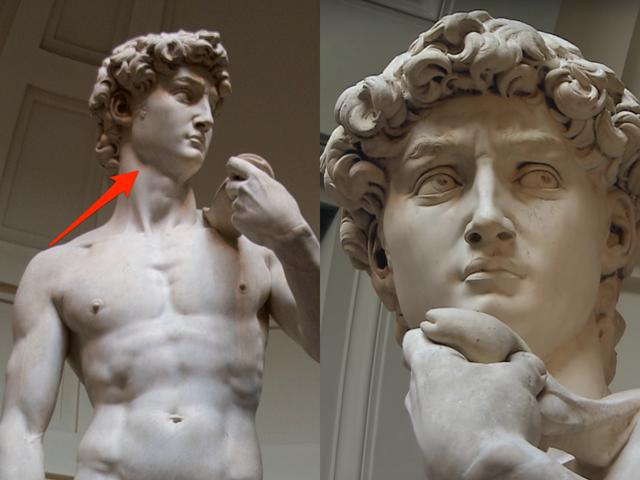 """Dựa vào góc nhìn đối với bức tượng """"David"""", bạn sẽ thấy hai phiên bản khác nhau."""