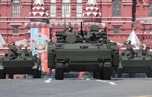 Xe thiết giáp tham gia duyệt binh trên Quảng trường Đỏ của Nga. (Ảnh: TASS)