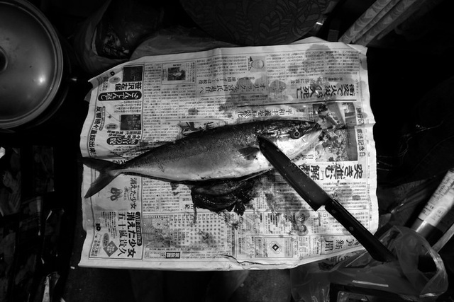 Anh cả đi câu cá về làm thức ăn cho gia đình.