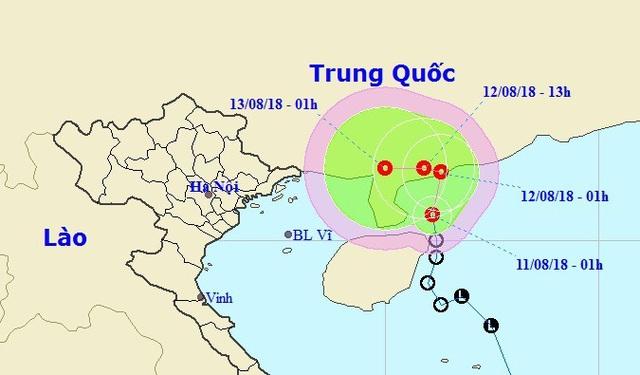 Vị trí và hướng di chuyển của áp thấp nhiệt đới. (Ảnh: NCHMF).