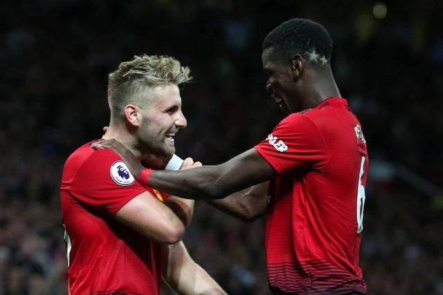 Shaw (trái) ăn mừng cùng Pogba