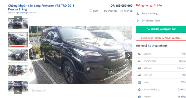 Chiếc Toyota Fortuner bán tại Indonesia