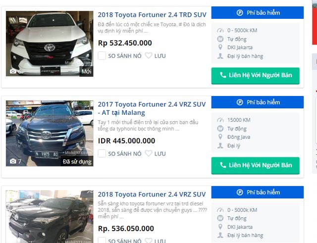 Giá các loại xe Toyota Fortuner bán tại Indonesia