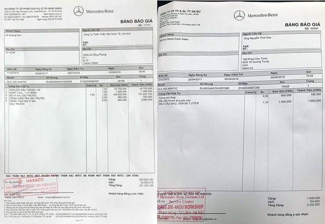 Báo giá chi phí cho việc thay vi-sai cầu trước trong trường hợp bị hỏng của một chiếc GLC 300 tại Tp Hồ Chí Minh (trái) và một mẫu xe tại Hà Tĩnh may mắn chỉ phải thay dầu cầu.