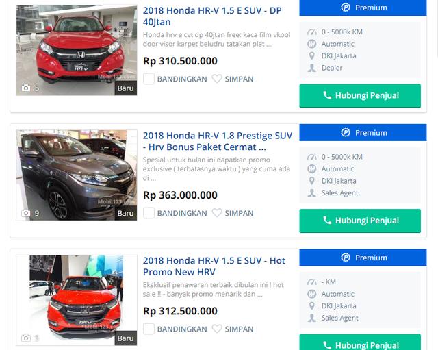 Những chiếc HRV mới bán tại Malaysia