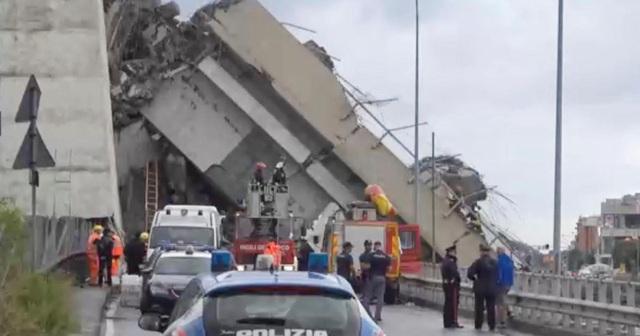 Cầu cao tốc Morandi bị sập một đoạn khoảng 200m. (Ảnh: Mirror)