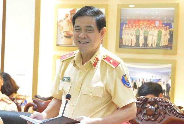 Thiếu tướng Vũ Đỗ Anh Dũng phát biểu tại hội nghị. Ảnh CSGT