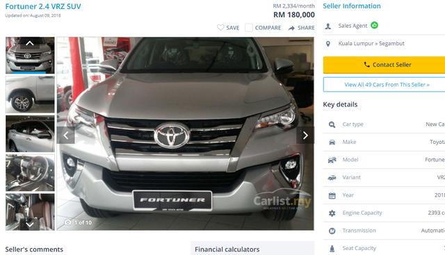 Chiếc xe Toyota Fortuner được bán tại Malaysia