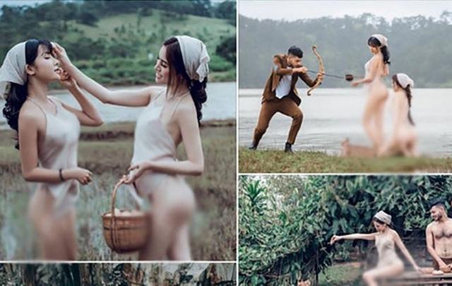 Những hình ảnh về hai cô gái chụp ảnh ở Đà Lạt đang gây tranh cãi...