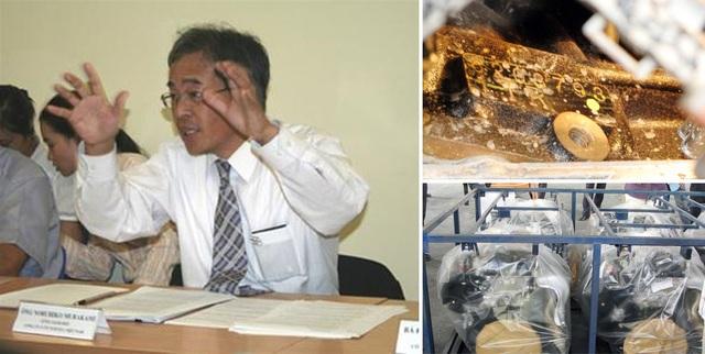 Tổng giám đốc của TMV thời điểm 2008 - ông Murakami và lô động cơ bị rỉ bên ngoài, gần số hiệu động cơ.