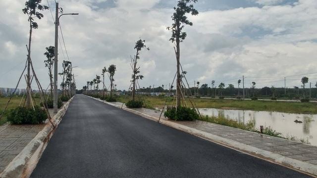 Những con đường nội bộ mới tinh chạy qua các đồng muối để phân lô bán nền
