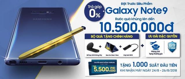 Nhận ngay ưu đãi trị giá 10,5 triệu đồng khi tham gia đặt trước siêu phẩm Samsung Galaxy Note9 tại Viễn Thông A