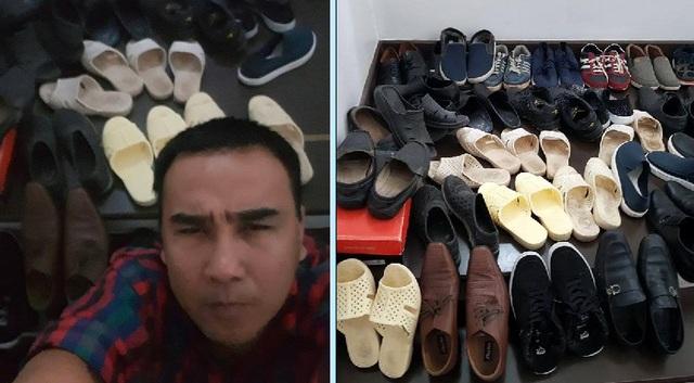 """Quyền Linh khoe ảnh bộ sưu tập giày và dép tổ ong. MC viết: """"Sáng nay cafe vỉa hè với bạn bè ở Nhà Bè, Linh nghĩ hoài hổng biết mang đôi nào."""