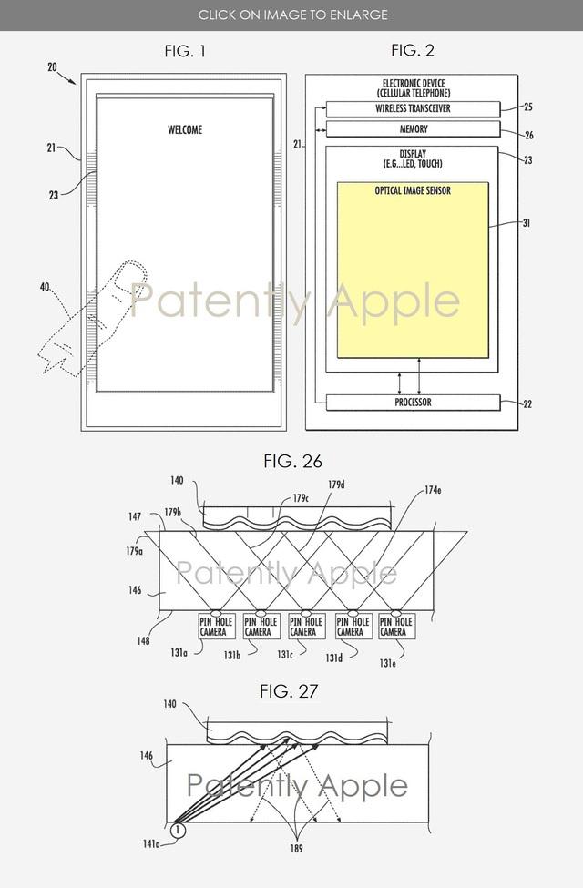 Hình ảnh mô tả về công nghệ cảm biến vân tay tích hợp vào màn hình mà Apple đang phát triển