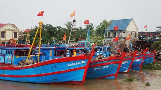 Tàu thuyền của ngư dân Nghệ An nằm bờ tránh bão.