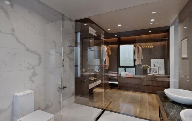 """Với mặt sàn rộng rãi, các chủ nhân hoàn toàn có thể thiết kế phòng tắm như một spa thu nhỏ. Để sau mỗi ngày làm việc căng thẳng, trở về nhà, đắm mình trong làn nước mát lành, trong hương thơm dịu nhẹ, cư dân Shop villa Imperia Garden cảm thấy mình như một bậc """"đế vương"""" được nâng niu, chiều chuộng."""