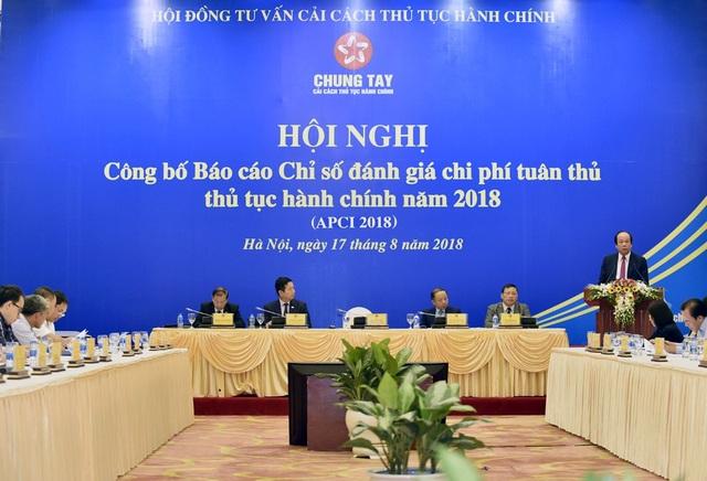 Bộ trưởng Mai Tiến Dũng công bố báo cáo về chỉ số APCI 2018 (ảnh: VGP)
