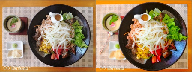 Hình chụp từ camera sau của Nova 3i: bên trái là chưa bật AI, bên phải bật AI nhận diện khung cảnh chụp là đồ ăn.