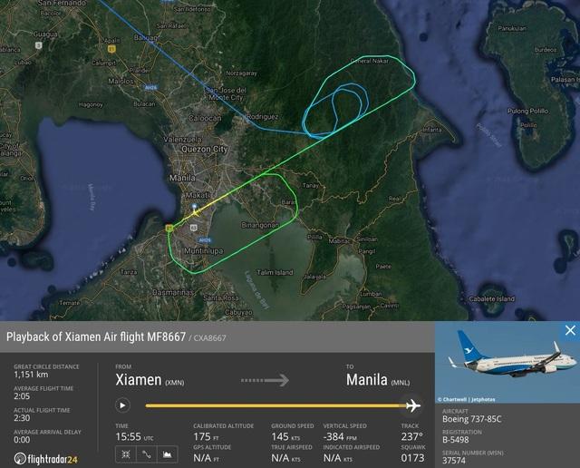 Máy bay XiamenAir từ Hạ Môn đi Manila phải lòng vòng khoảng 1 giờ đồng hồ trước khi hạ cánh bất thành và trượt khỏi đường băng. (Ảnh: Flightradar24)
