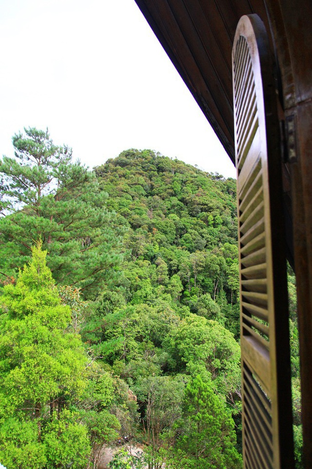 Một cửa sổ từ tầng 2 nhìn ra ngọn núi xanh mát mắt