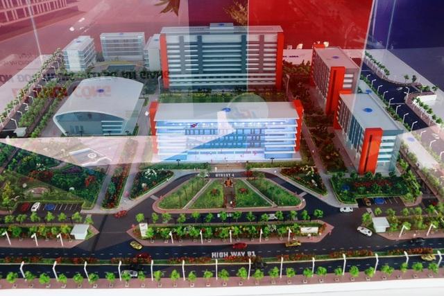 Mô hình tổng thể trường ĐH Tôn Đức Thắng tại An Giang vừa được khởi công xây dựng