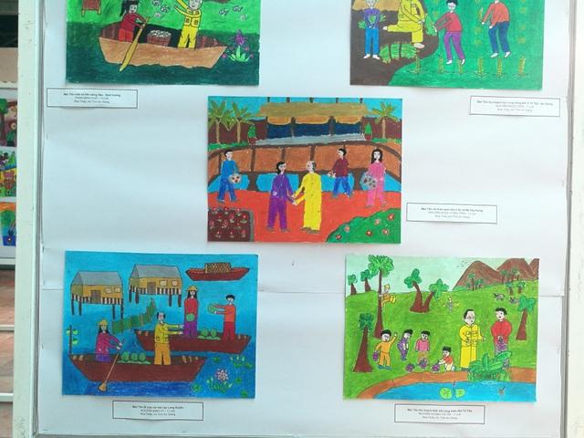 Những bức tranh vẽ của các em nhỏ về Chủ tịch nước Tôn Đức Thắng.