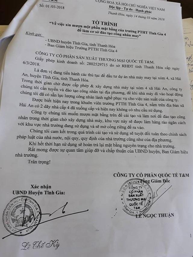 Tờ trình của công ty được ông Lê Thế Kỳ, Phó Chủ tịch UBND huyện Tĩnh Gia ký xác nhận cho vào trường mượn đất.