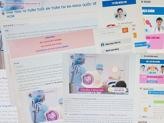 Nhan nhản các trang thông tin điện tử quảng cáo phá thai trên 10 tuần tuổi như dakhoadaidong.vn, dakhoaquocte.net.vn, phathai2.dakhoahoancau.v… Ảnh: TRẦN NGỌC